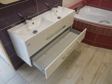 Cabinet with double sink Naturel Cube Way 120 cm, White