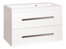 Cabinet with sink Naturel Cube Way 80 cm, White