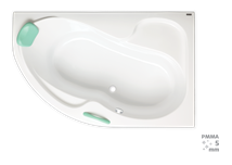Corner bathtub Laguna Fortuna Plus 170x100 cm, right, 100% acrylate, 220 l
