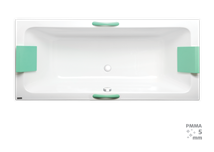 Rectangular bathtub Laguna Nora Plus 180x80 cm, 100% acrylate, 210 l